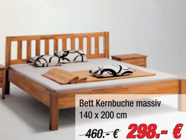 Stabiles Bett, Kernbuche massiv, Größe 140 x 200 cm. Statt 460,- EUR nur 298,- EUR